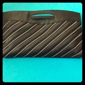 Black Leather Zipper Clutch